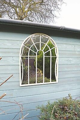 Large Arch Top Metal Cream Wall Mounted Garden Mirror Country 3ft x 2ft4