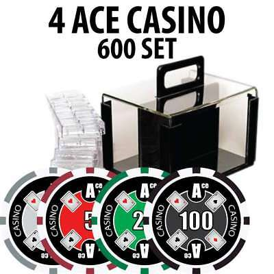 4 Ace Casino Poker Chip Set 600 Chips with Acrylic Carrier and Racks