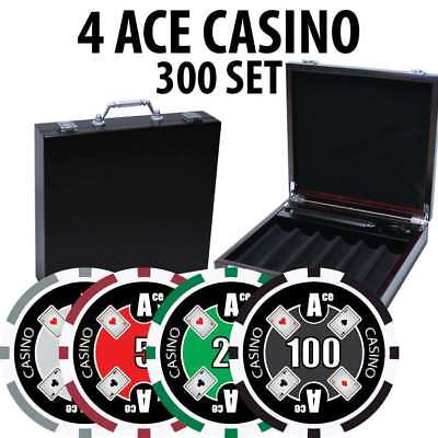 4 Ace Casino Poker Chip Set 300 Chips with Wood Case