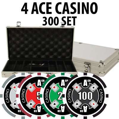 4 Ace Casino Poker Chip Set 300 Chips with Aluminum Case