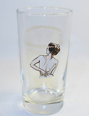 Vintage Drinking Glass With a Lady Women Nude