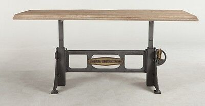 "72"" L Crank dining table solid mango wood top iron brass base industrial design"