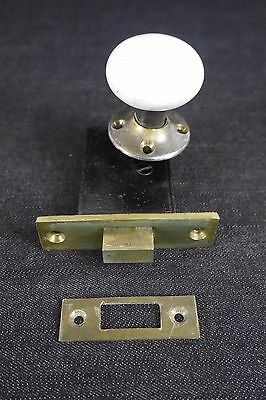 Antique Vintage Door Hardware Lock Set Deadbolt Porcelain Knob 1800's (PHL#2)