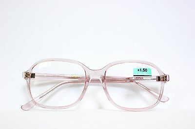 True Vintage Real Glass Reading Eye Glasses Light Ice Pink Square Clear Frame