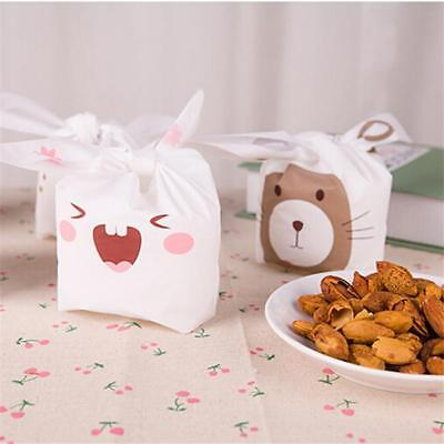 20pcs Cute New Rabbit Ear Bakery Cookie Candy Bag Plastic DIY White Gift Bag S