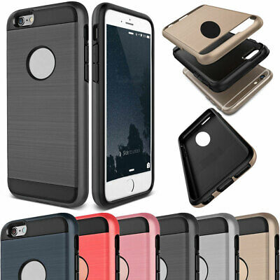Brushed Shockproof Hybrid Rubber Rugged Hard Case Cover For iPhone 4 4s 7 8 Plus