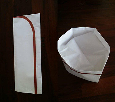 12x Disposable White Paper Chef Hats Adjustable Restaurant Kitchen Bakery Cooker