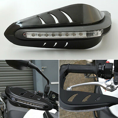 Cool Black Motorbike Motorcycle Handguard Protector Brush LED DRL Light Lamp