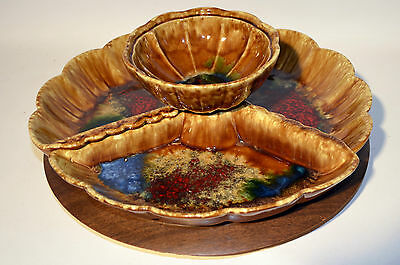 Vintage Ceramic Glazed Serving Dip Bowl 5 pcs Brown with Turning Table Made USA