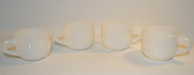 Set of 4 Milk Glass Coffee Tea Cups White Punch with Fruits Design
