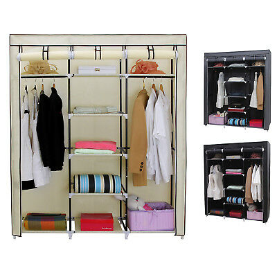 Canvas Wardrobe Cupboard Clothes Hanging Rail Storage Shelves 175 x 150 x 45 cm