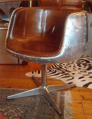 Aviation Brown Leather & Aluminium Riveted Chair - Dining / Office / Occasional