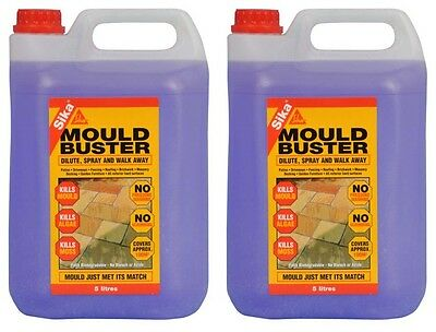 2 x Sika Mould Buster 5L Patio Decking Driveway Cleaner Moss Algae Garden Yard