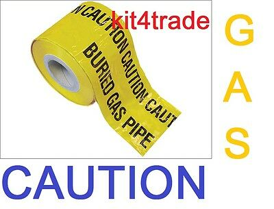 CAUTION BURIED GAS PIPE Underground buried pipe warning tape cut lengths