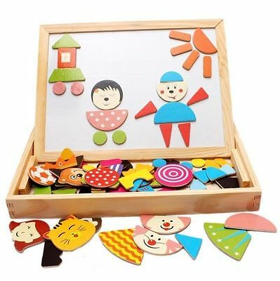 Magnetic 3D Puzzle Double Faced Writing Wooden Board Easel Toy Kids Toddlers