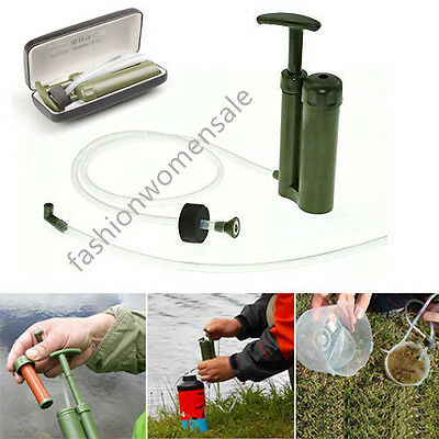 Soldier Portable Water Purifier Purification Backpacking Pump Filter&Hard Case F