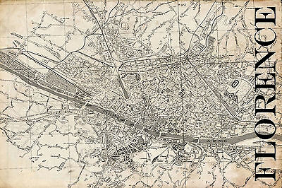 "Vintage Map of Florence 20"" x 30:"