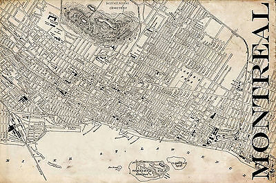 """Vintage Map of Montreal 20"""" x 30:"""