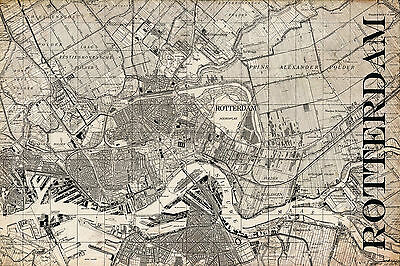 "Vintage Map of Rotterdam 20"" x 30:"