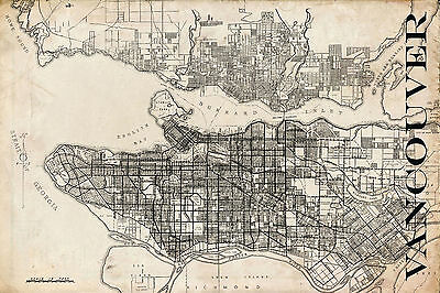 "Vintage Map of Vancouver 20"" x 30"""