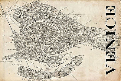 "Vintage Map of Venice 20"" x 30"""