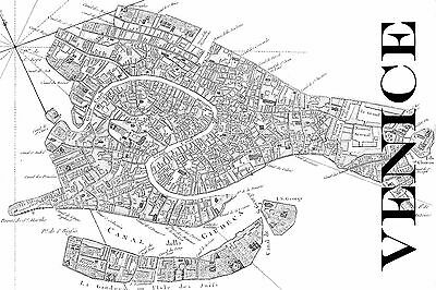 "Vintage Map of Venice 20"" x 30"" Black & White"