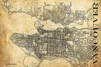 "Vintage Map of Vancouver 20"" x 30"" Sepia Grunge"