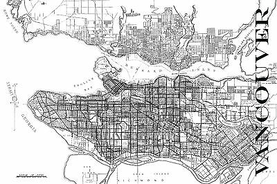 """Vintage Map of Vancouver 20"""" x 30"""" Black & White"""