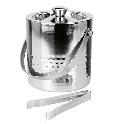 Double Walled Stainless Steel Hammered Insulated Ice Bucket Wine Cooler 1.5 Ltr