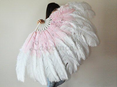 """LARGE OSTRICH FAN - WHITE Feathers 50"""" x 30"""" Sally Rand/Burlesque/Costume/Show"""