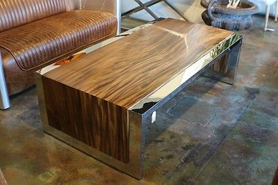 """60"""" L Coffee table acacia wood polished stainless steel frame heavy spectacular"""