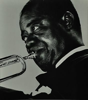 Chargesheimer Original 1961 30x40cm Louis Armstrong B&W Photo Print Jazz Trumpet