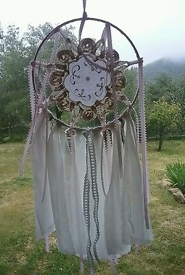 Dream catcher With Vintage Lace Doily  with Boho Trims
