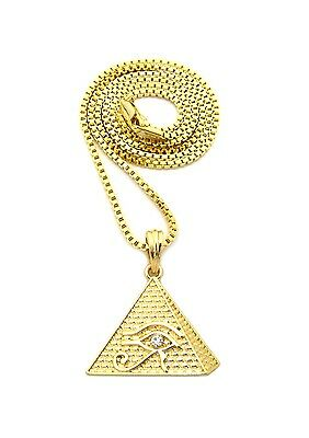 """Hip Hop Egyptian Eye of Horus in Pyramid Pendant Various24/"""" Chain Necklace XQP17"""
