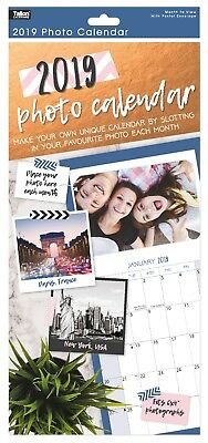 2019 Insert Your Own Photos Large Slim Long Size Spiral Wall Hanging Calendar