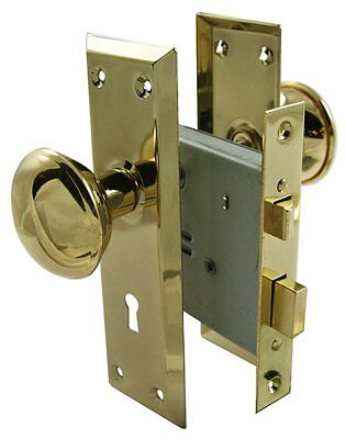 "Ultra Hardware 44609 2-1/4"" Brass Old Time Mortise Interior Door Lock Set Sale"