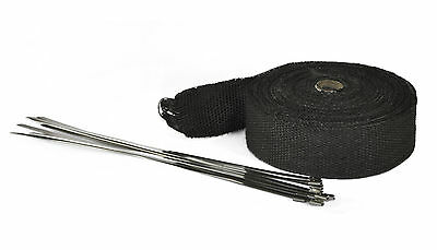 Exhaust Heat Wrap 10m x 2inch Universal Fibreglass Black With Ties