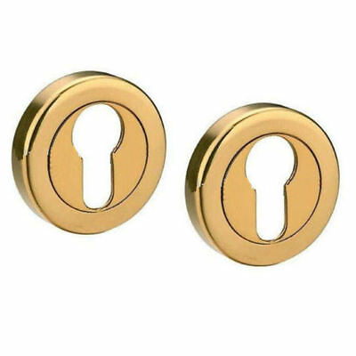 Satin Brass Escutcheons EURO Profile Door Keyhole Covers Dull/Brushed Finish x 2