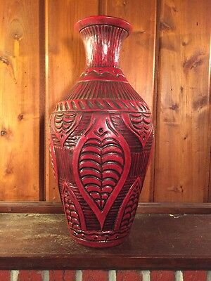 Antique Vase Resin Ceralon Vintage Primitive Culture Art Lacquer Wood Rustic Red