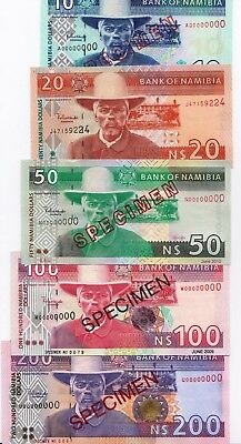Rare Namibia Specimen Banknotes Set 2000 year Issue, all UNC