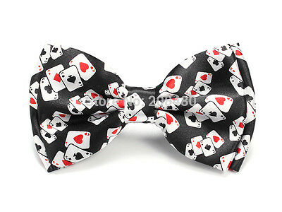 Unisex Playing Card Pattern Poker Novelty Bow Tie - Brand New