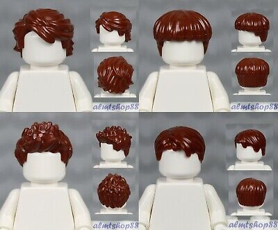LEGO - 4x Male Hair Lot - Reddish Brown Short Tousled Side Part Spiked Boy Wig