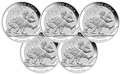 Lot of 5 - 2016 1oz Australian Silver Koala .999 Fine BU