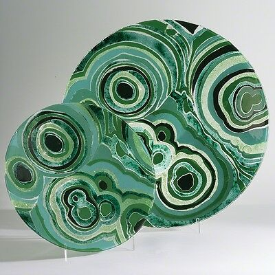"""23"""" Round Charger Dish Plate Malachite Infused Glass Green Serving Platter"""
