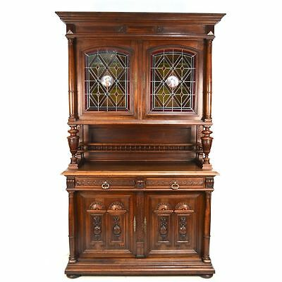 Antique Carved Walnut French Renaissance Stained Glass Cabinet Hutch