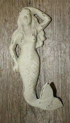 Cast Iron MERMAID Towel Hooks Hat Rack Nautical Swimming Pool Hook WHITE