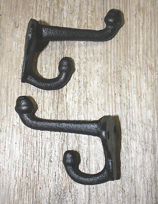 2 Cast Iron Black School Style Coat Hooks Hat Hook Rack Hall Tree Restoration