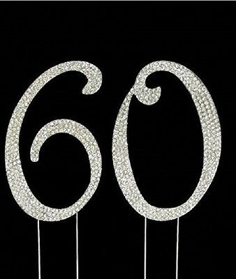 60th Birthday Cake Toppers Bling Birthday Cake Topper Real Sparkling Rhinestones