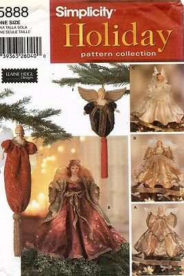 Simplicity Angel Tree Toppers and Ornaments Pattern 5888 UNCUT