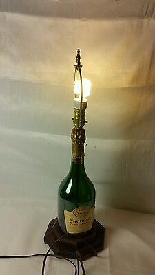 Taittinger Comets De Champagne 1976 Reims Bottle Table Lamp Green Man Cave